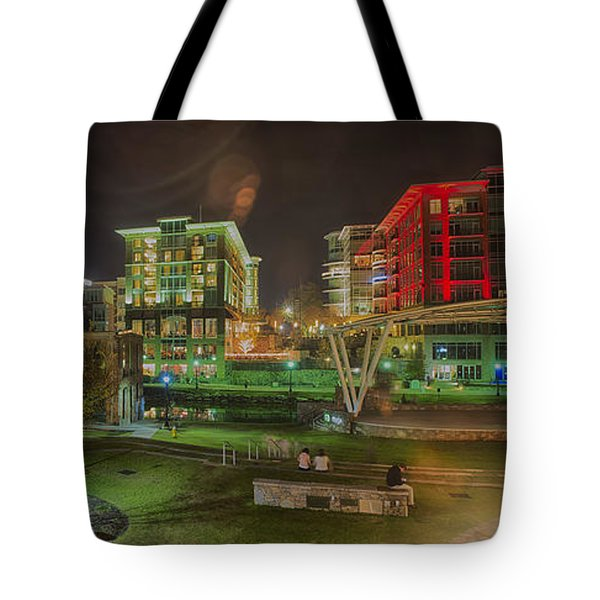 Greenville South Carolina Near Falls Park River Walk At Nigth. Tote Bag