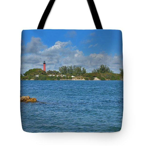 7- Jupiter Lighthouse Tote Bag by Joseph Keane