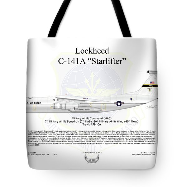 Lockheed C-141a Starlifter Tote Bag by Arthur Eggers