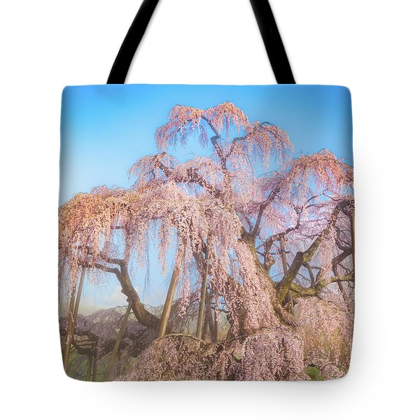 Tote Bag featuring the photograph Miharu Takizakura Weeping Cherry29 by Tatsuya Atarashi