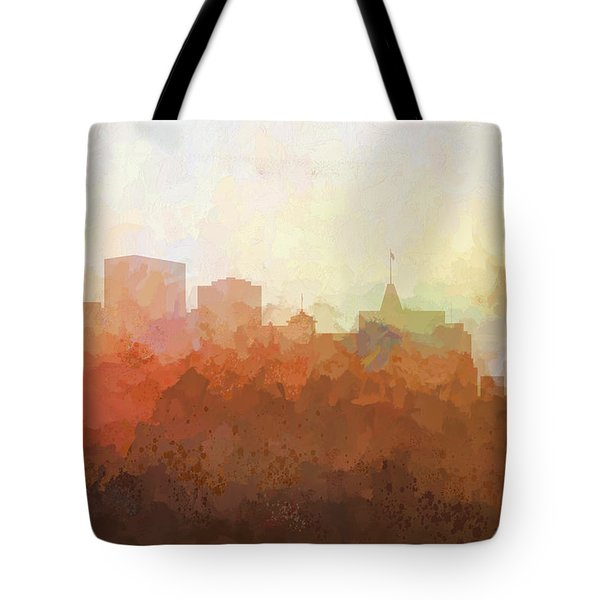 Tote Bag featuring the digital art Oakland California Skyline by Marlene Watson
