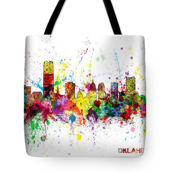 Tote Bag featuring the digital art Oklahoma City Skyline by Michael Tompsett