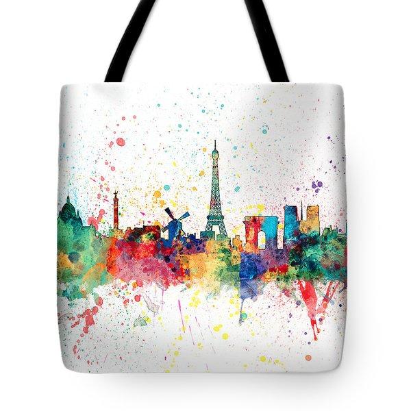 Paris France Skyline Tote Bag