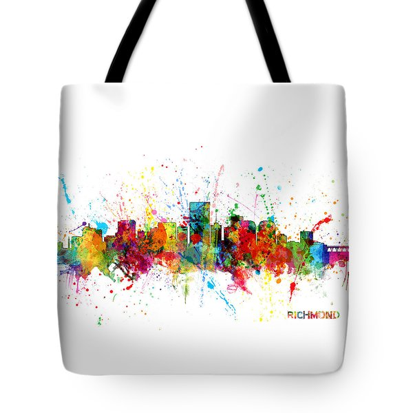 Tote Bag featuring the digital art Richmond Virginia Skyline by Michael Tompsett