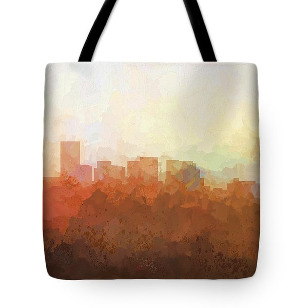 Tote Bag featuring the digital art Salem Oregon Skyline by Marlene Watson