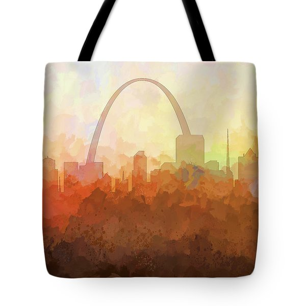 Tote Bag featuring the digital art St Louis Missouri Skyline by Marlene Watson
