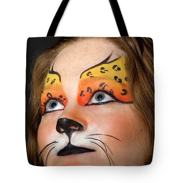 Young Female Model With Make Up Mask Tote Bag