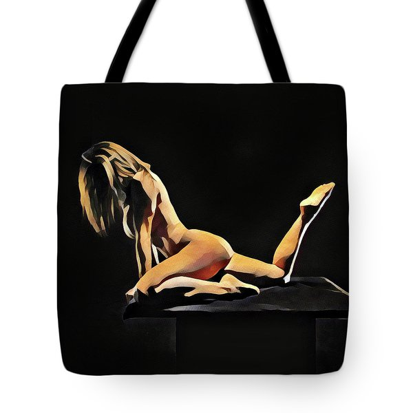 7038s-amg Watercolor Of Beautiful Mature Nude Woman Tote Bag