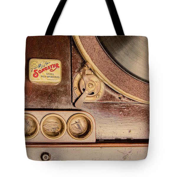 Tote Bag featuring the photograph 78 Rpm And Accessories by Gary Slawsky