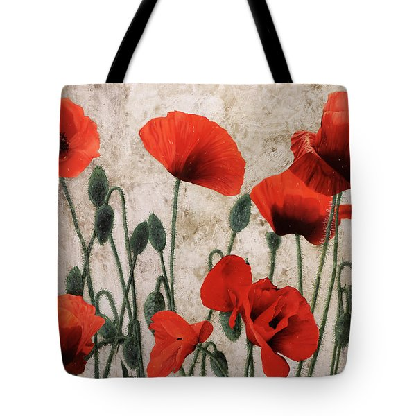 Tote Bag featuring the painting 7papaveri7 by Guido Borelli