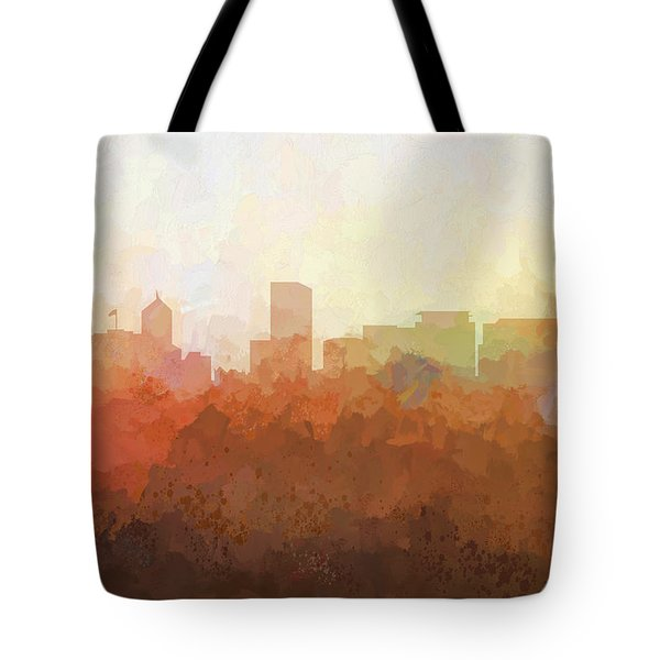 Tote Bag featuring the digital art Portland Oregon Skyline by Marlene Watson