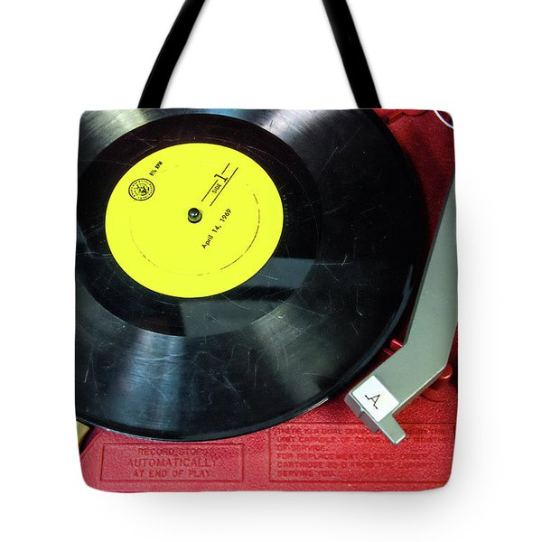 Tote Bag featuring the photograph 8 Rpm Record Player by Gary Slawsky