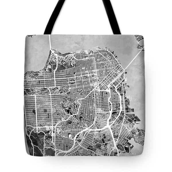 San Francisco City Street Map Tote Bag