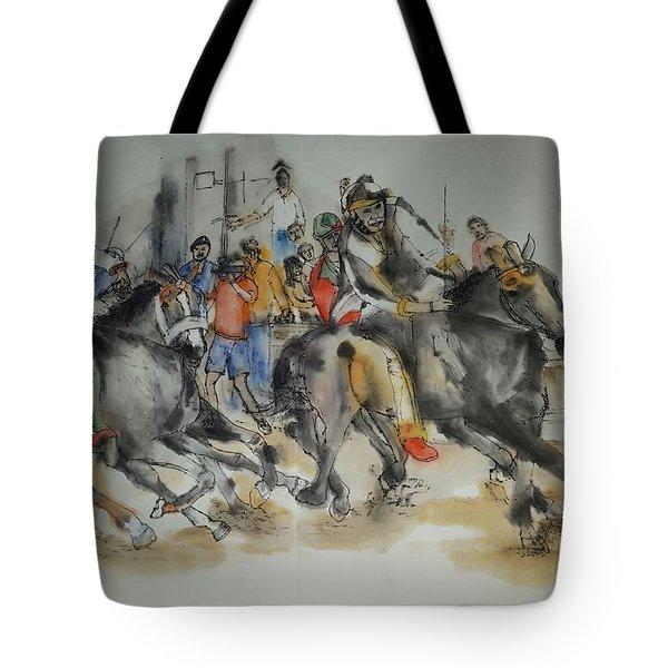 Tote Bag featuring the painting Siena And Their Palio Album by Debbi Saccomanno Chan