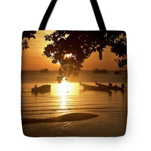Sunrise On Koh Tao Island In Thailand Tote Bag