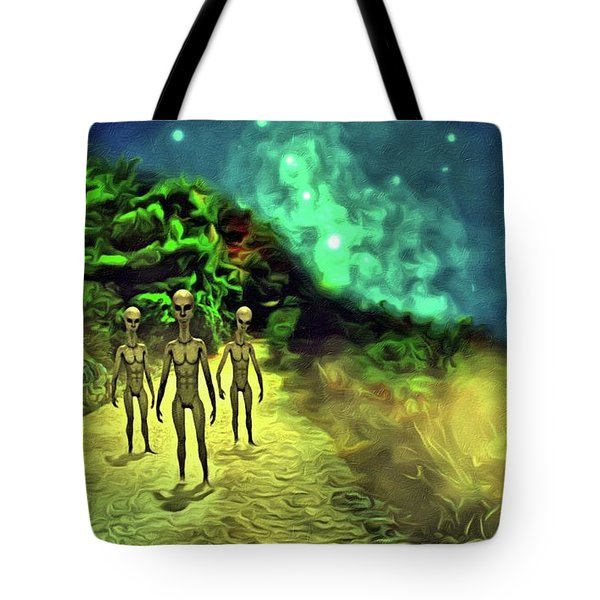 The Aliens Are Here Tote Bag