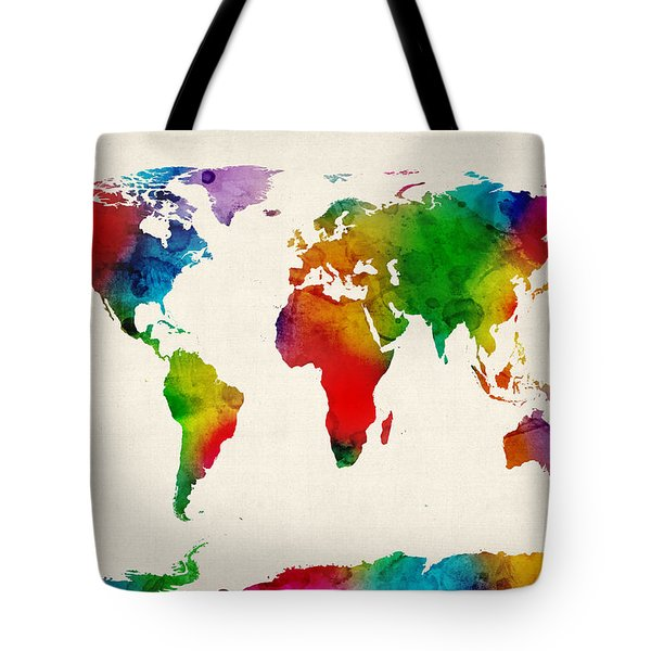 Watercolor Map Of The World Map Tote Bag by Michael Tompsett