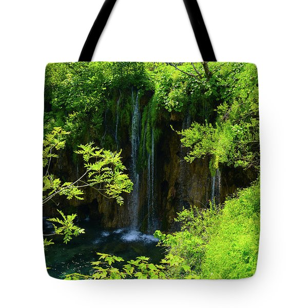 Waterfall In Plitvice National Park In Croatia Tote Bag