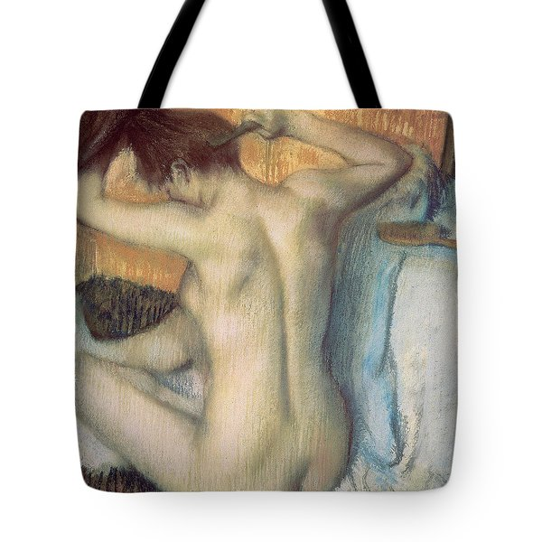 Woman Combing Her Hair Tote Bag