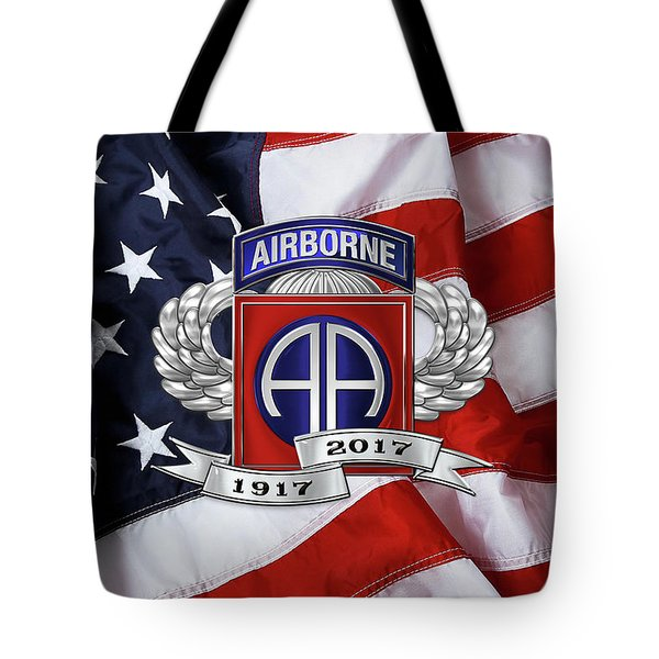 82nd Airborne Division 100th Anniversary Insignia Over American Flag  Tote Bag
