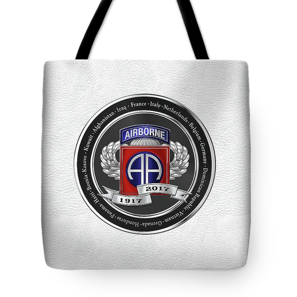 82nd Airborne Division 100th Anniversary Medallion Over White Leather Tote Bag by Serge Averbukh