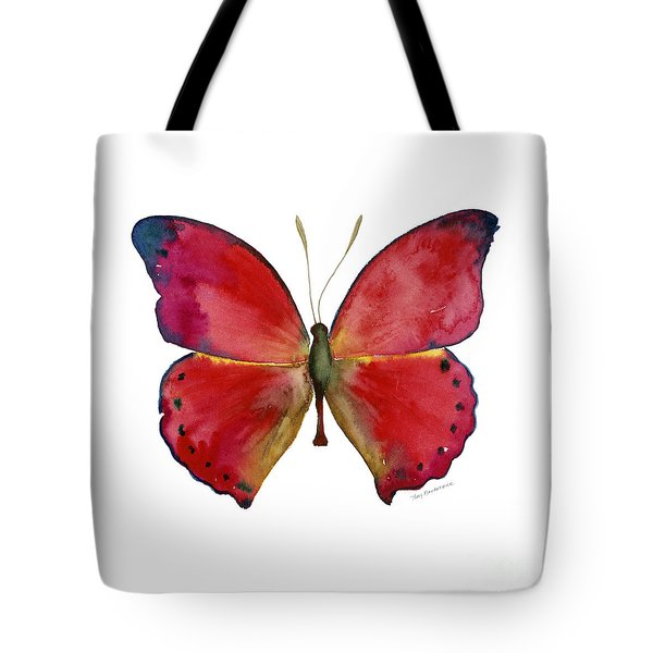 83 Red Glider Butterfly Tote Bag