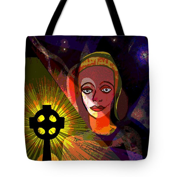 Tote Bag featuring the digital art 863 - A Celtic Cross by Irmgard Schoendorf Welch