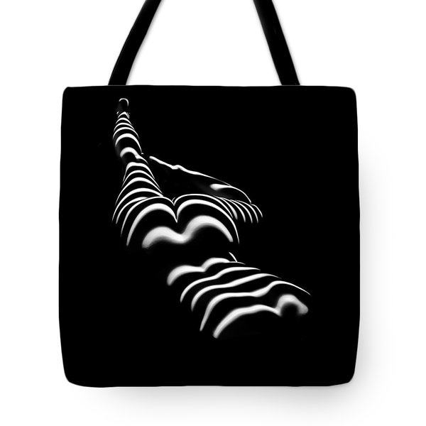 8897-slg Zebra Woman Legs Up Black And White Photograph By Chris Maher Tote Bag