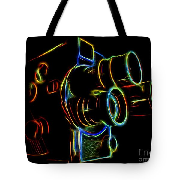 Tote Bag featuring the photograph 8mm In Neon by Mark Miller