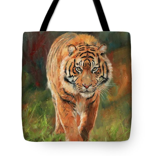 Amur Tiger Tote Bag by David Stribbling