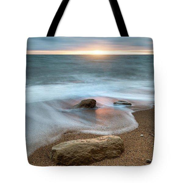 Beautiful Vibrant Sunset Landscape Image Of Burton Bradstock Gol Tote Bag