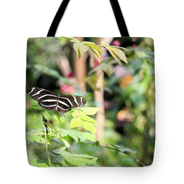 Tote Bag featuring the photograph Zebra Longwings Butterfly by Richard J Thompson