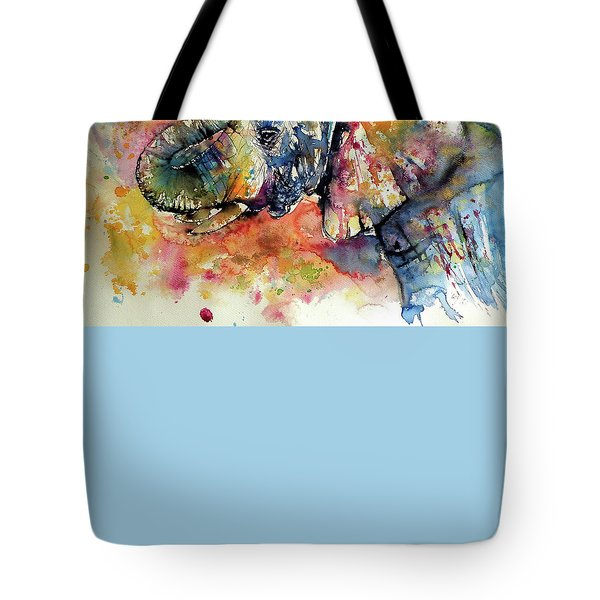 Colorful Elephant Tote Bag by Kovacs Anna Brigitta
