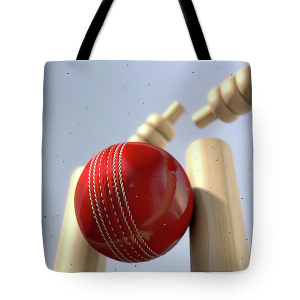 Cricket Ball Hitting Wickets Tote Bag by Allan Swart