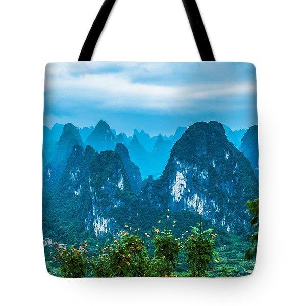 Karst Mountains Landscape Tote Bag