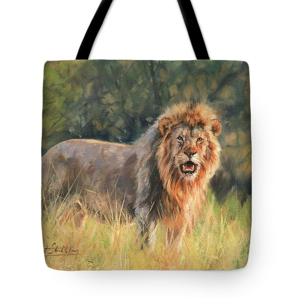 Tote Bag featuring the painting Lion by David Stribbling