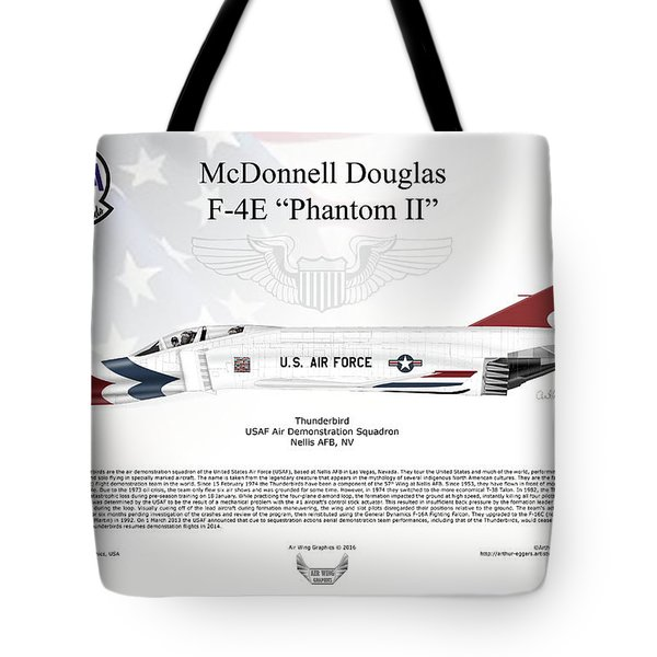 Mcdonnell Douglas F-4e Phantom II Thunderbird Tote Bag by Arthur Eggers