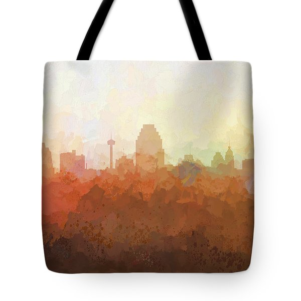 Tote Bag featuring the digital art San Antonio Texas Skyline by Marlene Watson