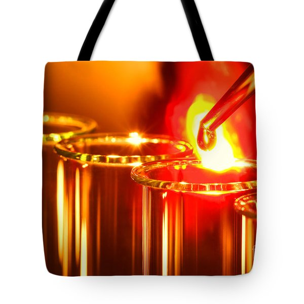 Tote Bag featuring the photograph Scientific Experiment In Science Research Lab by Olivier Le Queinec