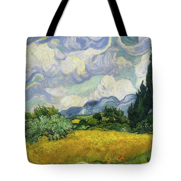 Tote Bag featuring the painting Wheat Field With Cypresses by Vincent van Gogh