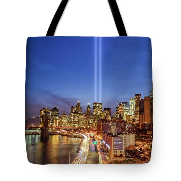 Tote Bag featuring the photograph 911 Tribute In Light In Nyc II by Susan Candelario