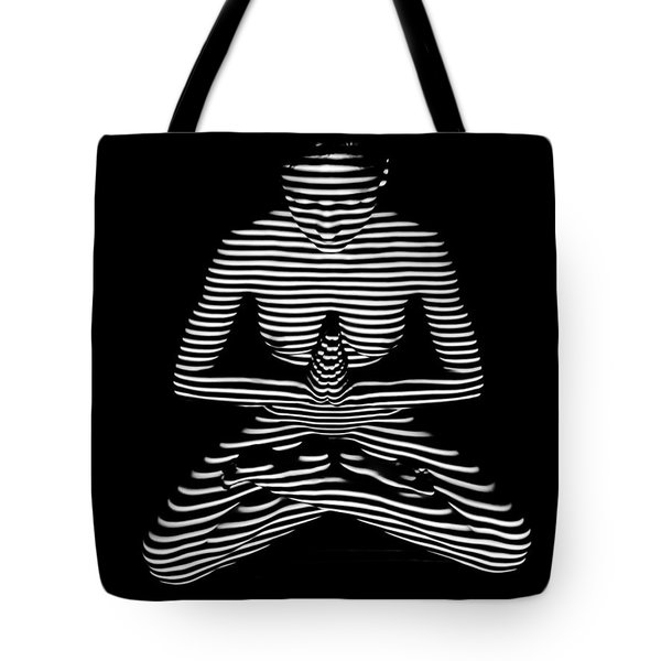9448-dja Lotus Position Zebra Stripe Abstraction Black White Photograph By Chris Maher Tote Bag