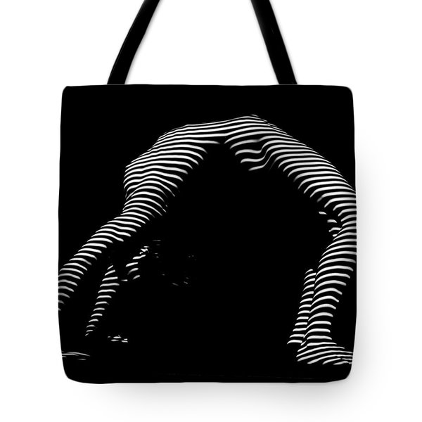 9454-dja Back Bend Yoga Zebra Girl Striped Curves Black White Photograph By Chris Maher Tote Bag