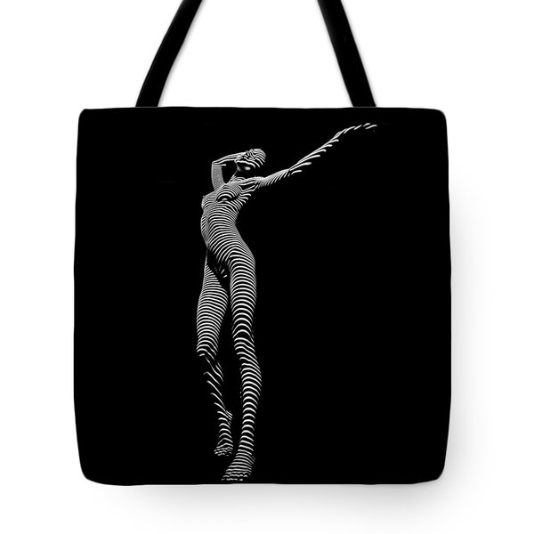 9705-dja Zebra Woman Flow Of Life Black White Striped Young Woman By Chris Maher Tote Bag