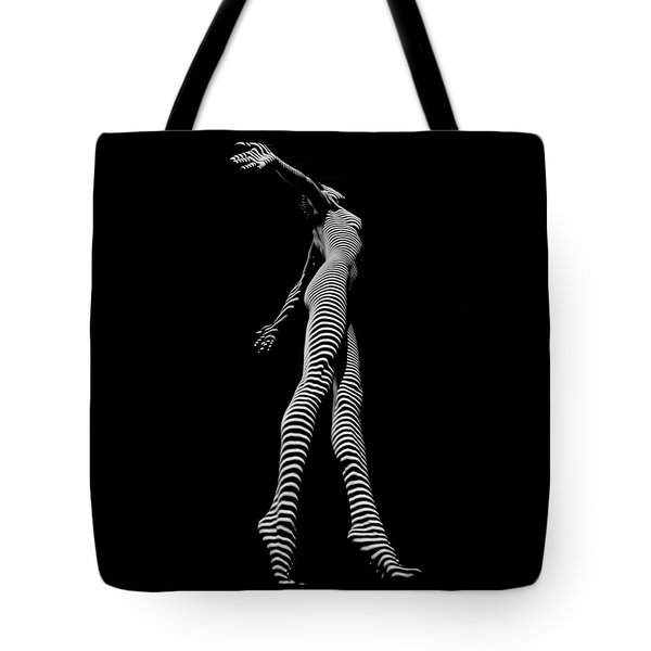 9825-dja Black And White Zebra Striped Woman Unique Perspective Fine Art Photograph By Chris Maher Tote Bag