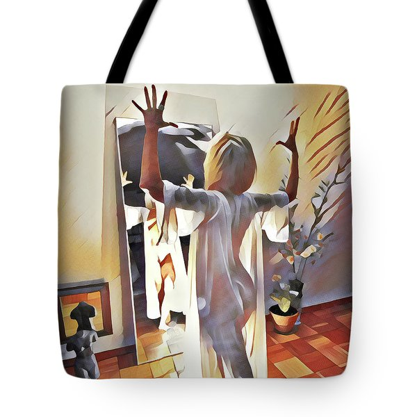 9906s-dm Woman Confronts Herself In Mirror Tote Bag