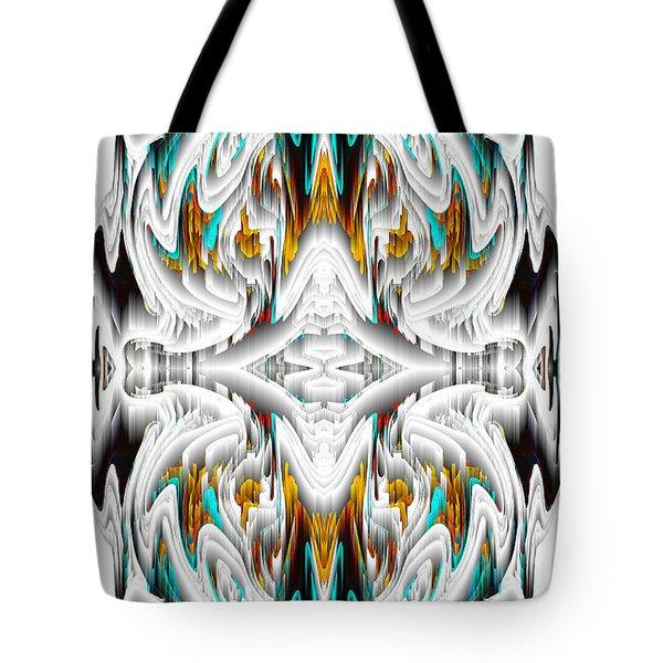 Tote Bag featuring the digital art 992.042212mirror2ornategoldablue-1 by Kris Haas
