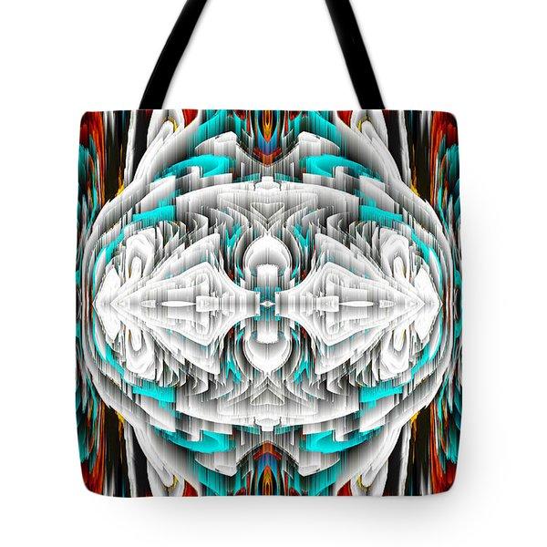 Tote Bag featuring the digital art 992.042212mirror2ornateredablue-1 by Kris Haas
