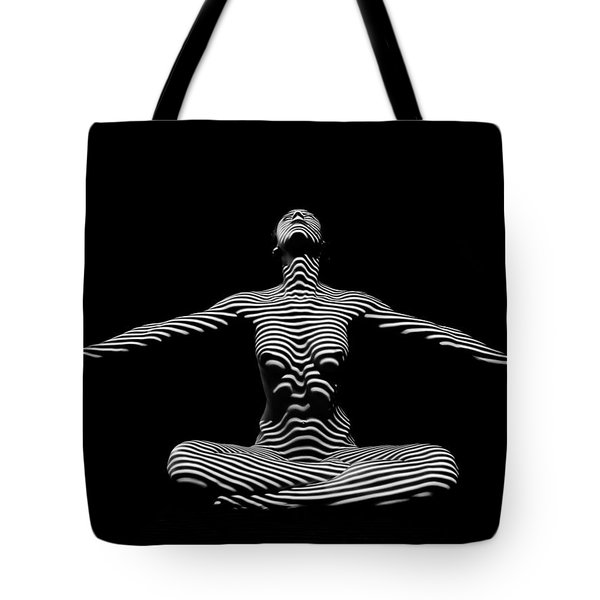 9928-dja Zebra Striped Woman Lotus Arms Out Abstract Black And White By Chris Maher Tote Bag