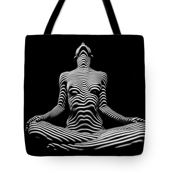 9934-dja Lotus Position In Zebra Stripes  Tote Bag